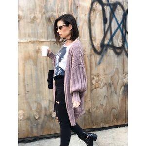 Sweaters - Last 1✨Chante Mauve Puff Sleeve Oversized Cardigan